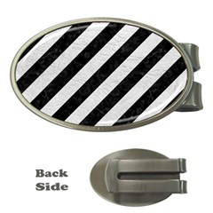 Stripes3 Black Marble & White Leather (r) Money Clips (oval)
