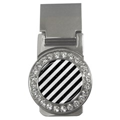 Stripes3 Black Marble & White Leather (r) Money Clips (cz)