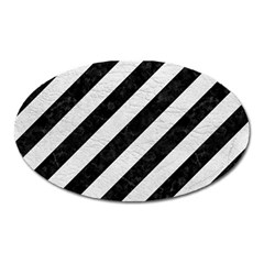 Stripes3 Black Marble & White Leather (r) Oval Magnet