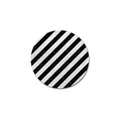Stripes3 Black Marble & White Leather (r) Golf Ball Marker