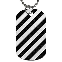 Stripes3 Black Marble & White Leather (r) Dog Tag (two Sides)
