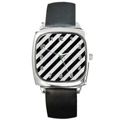 Stripes3 Black Marble & White Leather (r) Square Metal Watch