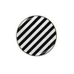 Stripes3 Black Marble & White Leather (r) Hat Clip Ball Marker