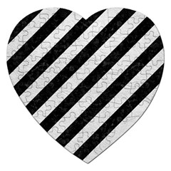Stripes3 Black Marble & White Leather (r) Jigsaw Puzzle (heart)