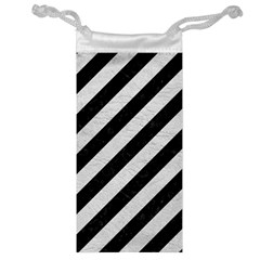 Stripes3 Black Marble & White Leather (r) Jewelry Bag