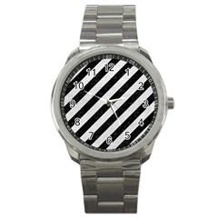 Stripes3 Black Marble & White Leather (r) Sport Metal Watch