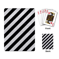 Stripes3 Black Marble & White Leather (r) Playing Card