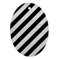 Stripes3 Black Marble & White Leather (r) Oval Ornament (two Sides)