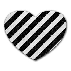 Stripes3 Black Marble & White Leather (r) Heart Mousepads