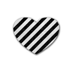 Stripes3 Black Marble & White Leather (r) Rubber Coaster (heart)