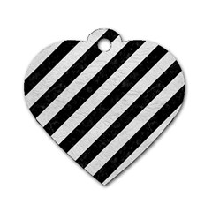 Stripes3 Black Marble & White Leather (r) Dog Tag Heart (one Side)