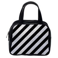 Stripes3 Black Marble & White Leather (r) Classic Handbags (one Side)