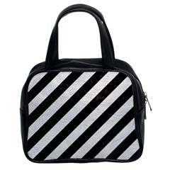 Stripes3 Black Marble & White Leather (r) Classic Handbags (2 Sides)