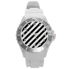 Stripes3 Black Marble & White Leather (r) Round Plastic Sport Watch (l)