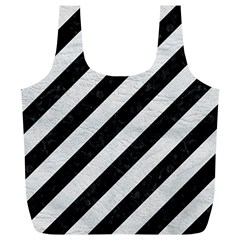 Stripes3 Black Marble & White Leather (r) Full Print Recycle Bags (l)