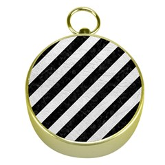 Stripes3 Black Marble & White Leather (r) Gold Compasses
