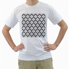 Tile1 Black Marble & White Leather Men s T Shirt (white) (two Sided)