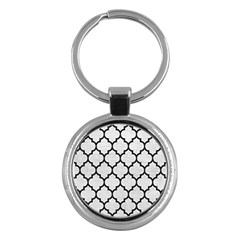 Tile1 Black Marble & White Leather Key Chains (round)