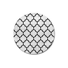 Tile1 Black Marble & White Leather Magnet 3  (round)