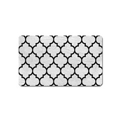 Tile1 Black Marble & White Leather Magnet (name Card)