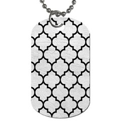 Tile1 Black Marble & White Leather Dog Tag (one Side)