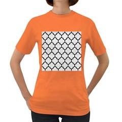 Tile1 Black Marble & White Leather Women s Dark T Shirt