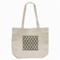 Tile1 Black Marble & White Leather Tote Bag (cream)