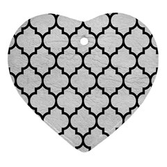 Tile1 Black Marble & White Leather Heart Ornament (two Sides)