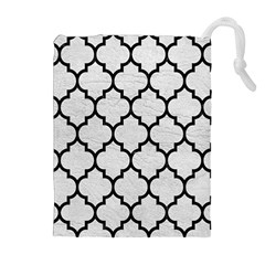 Tile1 Black Marble & White Leather Drawstring Pouches (extra Large)