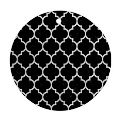 Tile1 Black Marble & White Leather (r) Ornament (round)