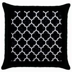 Tile1 Black Marble & White Leather (r) Throw Pillow Case (black)