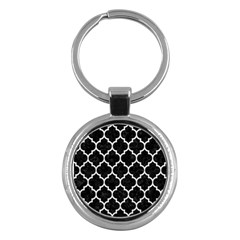 Tile1 Black Marble & White Leather (r) Key Chains (round)