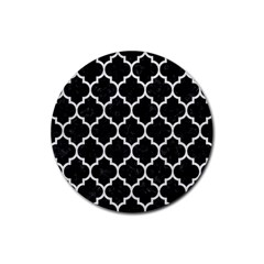 Tile1 Black Marble & White Leather (r) Rubber Coaster (round)
