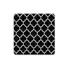 Tile1 Black Marble & White Leather (r) Square Magnet