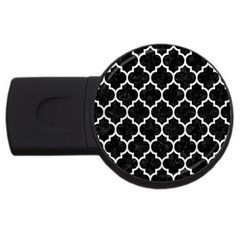 Tile1 Black Marble & White Leather (r) Usb Flash Drive Round (2 Gb)