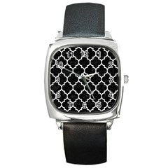 Tile1 Black Marble & White Leather (r) Square Metal Watch