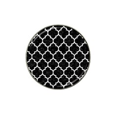 Tile1 Black Marble & White Leather (r) Hat Clip Ball Marker