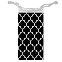 Tile1 Black Marble & White Leather (r) Jewelry Bag
