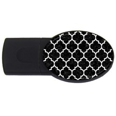 Tile1 Black Marble & White Leather (r) Usb Flash Drive Oval (4 Gb)