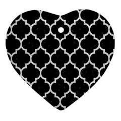 Tile1 Black Marble & White Leather (r) Heart Ornament (two Sides)