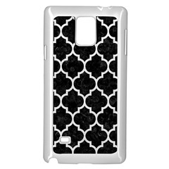 Tile1 Black Marble & White Leather (r) Samsung Galaxy Note 4 Case (white)