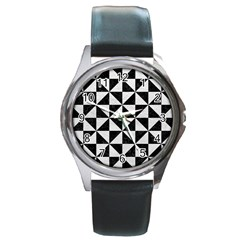 Triangle1 Black Marble & White Leather Round Metal Watch