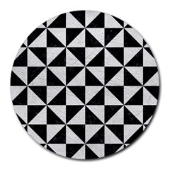 Triangle1 Black Marble & White Leather Round Mousepads
