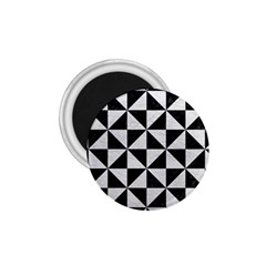 Triangle1 Black Marble & White Leather 1 75  Magnets