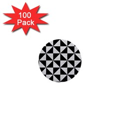 Triangle1 Black Marble & White Leather 1  Mini Buttons (100 Pack)