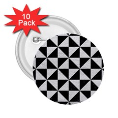 Triangle1 Black Marble & White Leather 2 25  Buttons (10 Pack)