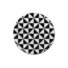 Triangle1 Black Marble & White Leather Magnet 3  (round)