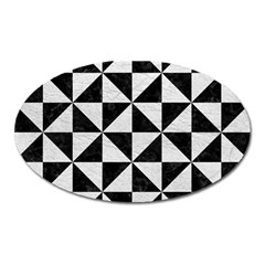 Triangle1 Black Marble & White Leather Oval Magnet