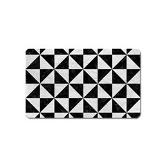 Triangle1 Black Marble & White Leather Magnet (name Card)