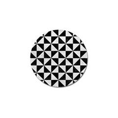 Triangle1 Black Marble & White Leather Golf Ball Marker (4 Pack)